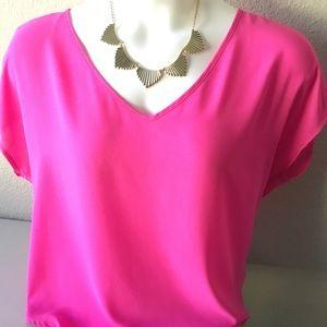 LUSH Stunning Hot Pink V-Neck Dolman Blouse
